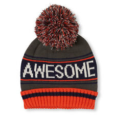 Boys 'Awesome' Striped Pom Pom Beanie HAT size S/M (4-7YR)