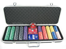 NEW DESIGN! 500 EPT Ceramic Poker Chips - with ABS Case, Cards, Button and Dice