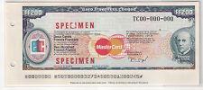Specimen Euro Travellers Cheque FF200 (UNC)
