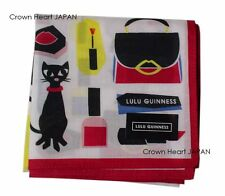 New LULU GUINNESS Cotton Handkerchief / Mini-scarf Cute Cat Japan-Made 50cm