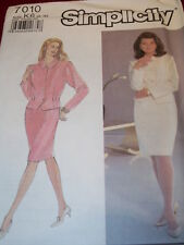 SIMPLICITY #7010-LADIES PRETTY VEST BOTTOM JACKET & PENCIL SKIRT PATTERN 8-18 FF