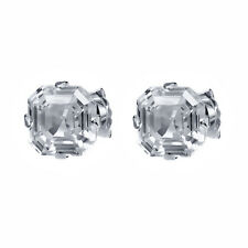 Sterling Silver Asscher Cut Cubic Zirconia CZ Stud Earrings For Women