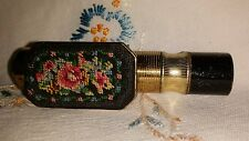 Vintage Lipstick Case with Mirror and embroidered cover