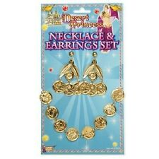Cleopatra Egyptian Arabian Princess Gypsy Coin Necklace Earring Set Fancy Dress