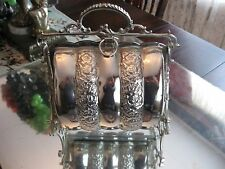 QUALITY ANTIQUE ELEGANT REPOUSSEE SILVER PLATE BUN WARMER SERVER BASKET BOWL