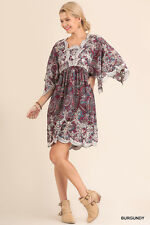 PLUS 1XL UMGEE Burgundy Flutter Sleeve Paisley Lace/Eyelet Dress/Tunic SASSY SKY