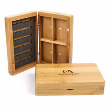 Maxcatch Bamboo Fly Box with 4 Compartment magnetic Wooden Fly Fishing Storage