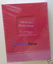 "Pink 6"" X 4"" Designer Photo Album with 200 Pockets Photo Organiser with Window"