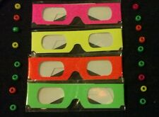 DIFFRACTION GLASSES - 4 PAIRS - **NEON BLACKLIGHT** - RAVE - PARTY - FIREWORKS