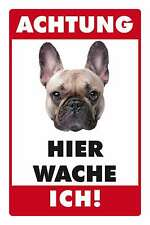 Blechschild - FRANZÖSISCHE BULLDOGGE -  HIER WACHE ICH -  20x30 cm 23012