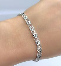 18k Solid White Gold Cute Diamond Cut Bracelet, 7 Inches, 7 grams