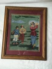"Wooden Framed Tapestry 3 Ladies Playing Golf Picture Wall Decor 13""x16"""