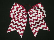 "NEW ""CHEVRON Burgundy"" Cheer Bow Pony Tail 3"" Ribbon Girls Hair Cheerleading"