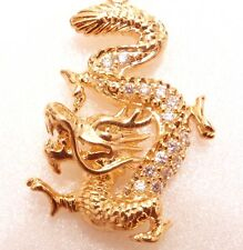 18K Yellow Gold Plated Cubic CZ Chinese Royal Dragon Charm Luck Pendant Necklace