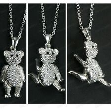CRYSTAL ENCRUSTED 3cm big bear ARTICULATED TEDDY silver rhinestone LONG NECKLACE