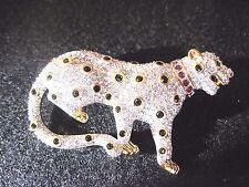 Swarovski Swan Signed Vintage Crystal And Gemstone Leopard Brooch MINT