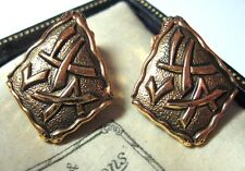 VINTAGE 1950's Costume Jewellery STAYBRITE Chinese Symbol Clip On EARRINGS
