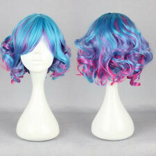 New Fashion Short Rainbow Color Curly Wavy Full Wig Hair Lolita Cosplay Party