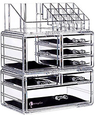 Cq acrylic 7 Drawers and 16 Grid Makeup Organizer with Cosmetic Storage Cases,9.