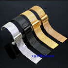 New Luxury 18 20 22 24 mm Stainless Steel Watch Mesh Band Double Clasps Bracelet