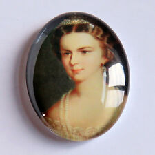 Vintage Victorian Style British Queen Cameo Tempered Glass Oval Cabochon 40x30mm