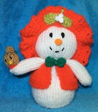 KNITTING PATTERN - Snowflake the Snowman Lady orange cover / 15cms Christmas toy