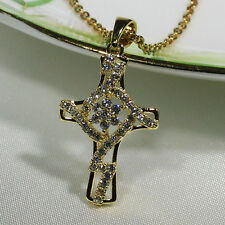 18K Yellow Gold Filled Women Fashion Jewelry Necklace Unique Cross Pendant P3226