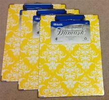 Set of 3 Yellow Damask Standard Size Clip Boards with Low Profile Clip NEW