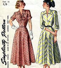 "Vintage 40s FULL SKIRT DRESS Sewing Pattern Bust 34"" Sz 10 New Look era EVENING"