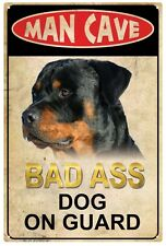 Man Cave  'Bad Ass Dog on guard'  Tin Sign 20 x 30 cm