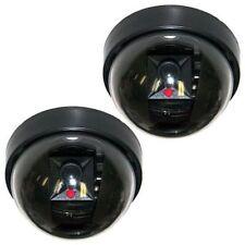 2 x DOME FINTA DUMMY SICUREZZA CCTV CAMERA TELECAMERE CON LAMPEGGIANTE LED CASA LAVORO