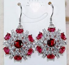 6CT Ruby & White Topaz 925 Solid Genuine Sterling Silver Earrings