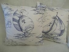"""SPINNAKER BY JANE CHURCHILL 1 PAIR OF 18"""" CUSHION COVERS - DOUBLE SIDED!"""