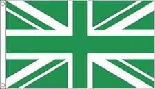 GREEN and WHITE UNION JACK FLAG 5' x 3' Sports Club Football Eco Green Earth Day