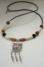 "MAYAN GOD Chac NECKLACE Tibet Silver Feathers AZTEC BONE Beads 23""-25"" Cord NEW"