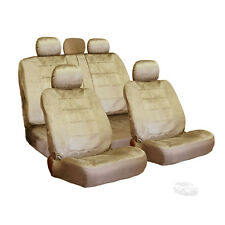 PREMIUM GRADE BEIGE VELOUR FABRIC CAR SEAT COVERS SET FOR FORD