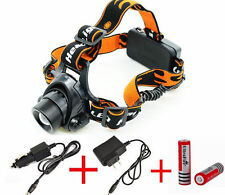 3000LM CREE XML T6 LED Zoomable XQ50 Headlamp Headlight Head Torch Battery Set