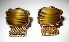 NICE Vintage DANTE Cuff Links CAT'S EYE Stones Marked DANTE