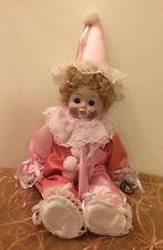 Victorian Brinn's 1988 Painted Face Porcelain Girl Clown Doll Collectible Tag