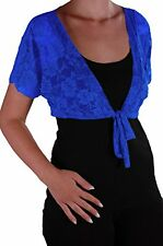 Womens Lace Bolero Shrugs Short Sleeve Plain Wrap Cardigan Blouse Tops Crochet
