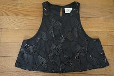 NWOT Pins and Needles Urban Outfitters Club Party Sequin Flowy Crop Top Sz M