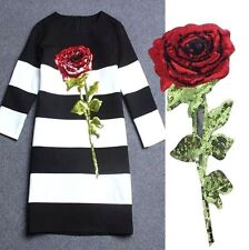 32CM Large Clothing's Sequin Rose Applique Patch DIY Garment Embroidery Craft ^