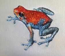 FROG POISON DART MINI OIL PAINTING RED BLUE ORIGINAL REAL ART 6X6 D Warren USA