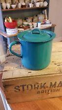 Vintage Greeny-Blue Enamel Lidded Drinking Mug – Kitchenalia – Great! –