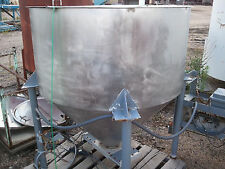 STAINLESS STEEL PACKING TANK 4' DIA. 2' TALL SIDE WALL , 60 DEGREE CONE