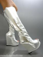 MORI MADE ITALY WEDGES BOOTS PEEP TOE STIEFEL STIVALI LEATHER SILVER ARGENTO 40