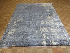 8 X 10 Hand Knotted Sky Blue Modern Abstract Oriental Rug With Silk G4166