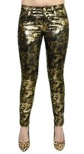 Versace Collection Metallic Brocade Jeans Pants Trousers Black/Gold 25 Nwt $898