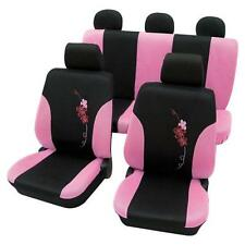 Girly Car Seat Covers Pink & Black Flower pattern -BMW 5-Series E34 1988-1997
