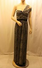 NEW BCBG MAX AZRIA MISTY MORNING COMBO ONE SHOULDER GOWN VXE6N389/L140 SIZE 6